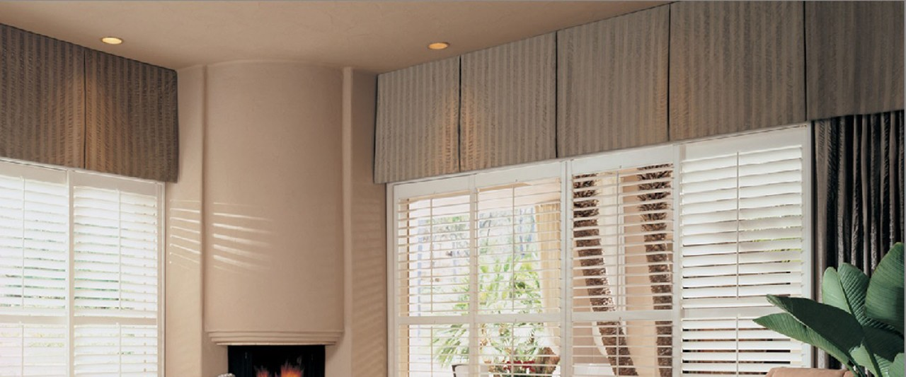 Top Treatment over Heritance® Hardwood Shutters